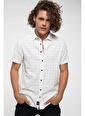 DeFacto Baskılı Slim Fit Kısa Kollu Gömlek Beyaz